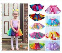 Wholesale rainbow color wedding dress online - Kids Rainbow Colorful TUTU Skirt Dress Children Girls dance wear dresses Ball Gown Ballet Pettiskirt Performance Party wedding Clothes sale