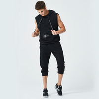 Wholesale men s cargo shirts - Men's T Shirt Set 2018 Summer Fashion Two Pieces Hooded Sling Short-Sleeved Tees Male T-Shirt Slim Male Tops