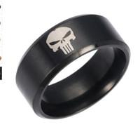 cómics de acero al por mayor-comics super hero skull punisher logo calavera esqueleto anillo de acero inoxidable para hombre marca anillo de mujer