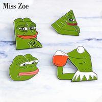 ingrosso spille rane-La signorina Zoe la rana Pepe Pensare triste bere divertente animale carino giacca di jeans spille per le donne perni smalto distintivo gioielli regali uomini