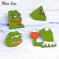 Wholesale funny drinks - Miss Zoe the Frog Pepe Sad Think Drink Funny Cute Animal Denim Jacket Brooches for Women Enamel Pins Badge Jewelry Gifts Men