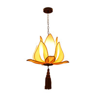Wholesale lotus pendant lamp - New china Fabric Lotus pendant light Restaurant Club Creative Aisle Restaurant Balcony pendant lamps yellow lamps decor home llighting