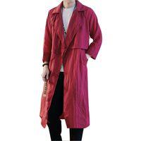 ingrosso trincea delle donne cinesi-Trench sottile sottile di modo del ricamo del cappotto di stile cinese delle donne degli uomini Cappotto trench sottile casuale del cardigan di modo