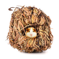 Wholesale toy chinchilla online - Small Pet Animal Hamster Grass Net Grass Hand weaved Pet Toys Cages for Chinchilla Hamster Guinea Pigs Small Animal Playground
