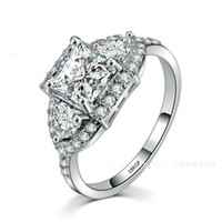 18kgp verlobungsring großhandel-Ergu Schmuck Prinzessin Cut Shiny CZ Stein Marke Engagement Solitaire Ring 18KGP Zirkonia Hochzeit Ringe für Frauen Schmuck