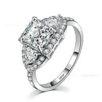 ingrosso anello di fidanzamento 18kgp-Gioielli Ergu Princess Cut Shiny CZ Pietra Brand Engagement Solitaire Anello 18KGP Cubic Zirconia Anelli di nozze per le donne Gioielli