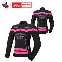 malla de montar chaquetas de moto al por mayor-BENKIA Mujer chaqueta de moto de verano Malla Transpirable Chaqueta Moto Racing Traje Ventilación Montar Moto Mujeres
