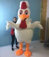 traje de frango branco adultos venda por atacado-Handmade grande galinha branca de cabelos compridos traje da mascote adulto traje da mascote