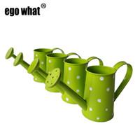 ingrosso mini vaschette verdi-Metallo all'ingrosso Peach Flower Sprinkler Mini Piccolo annaffiatoio secchio fiore metallo easter egg box favore colori verde titolare