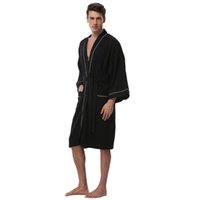 Men s Waffle Cotton Robes Long Sleeve Kimono Bath Robes Terry Cloth Winter  Pijamas Knee-Length Men s Spa Bathrobe Sleepwear 391e8e992
