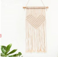 Wholesale handmade tapestries for sale - Group buy Bohemian Macrame Woven Tapestry Wall Hanging Handmade Knitting Heart Tapestries Wedding Decoration Craft Gifts Handmade Tapestry KKA4341