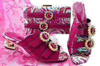 Wholesale ladies dress shoes bags resale online - Most popular fuchsia design CM kitten heel lady shoes with rhinestone african shoes match bag set for dress MM1064