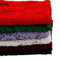 ingrosso tessuto di ricamo idrosolubile-OECEM Tessuto in pizzo ricamato in poliestere per abbigliamento in tessuto di seta del latte ricamato in tessuto 125 * 50CM OLS001 solubile in acqua