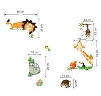 animais da selva bebê venda por atacado-Frete grátis Selva Animal Posters Crianças Do Berçário Do Bebê Adesivos de Parede Criança Home Decor Decoratio PVC Mural Estilo Dos Desenhos Animados Do Decal Adesivo De Pare