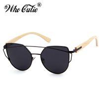 OMS CUTIE 2018 Femmes Cat Eye Polarized lunettes de soleil Black Shades  Marque Designer Rétro Cadre En Métal En Bois Bambou Bras Lunettes de Soleil  489 7b6565666bae
