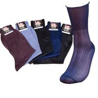 ingrosso nylon neri neri-10 paia di alta qualità uomini pura seta calze nere trasparente uomini sexy vestito vestito formale calze di nylon