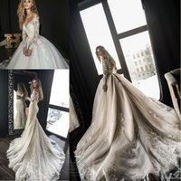 Wholesale long mermaid gowns - 2018 Gorgeous Designer Mermaid Wedding Dresses with Detachable Train Arabic Dubai Off the Shoulder Long Sleeves Lace Wedding Bridal Gowns