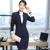 Wholesale Formal Wear Uniforms - Fall Winter Formal Uniform Designs 2 Piece Tops And Skirt For Ladies Work Wear Professional Female Blazers & Jackets Sets