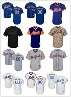 Wholesale ny yellow - custom Men's women youth Majestic NY Mets Jersey #00 Any Your name and your number Home Blue Grey White Kids Girls Baseball Jerseys