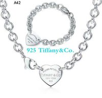 Wholesale Retail lowest price Christmas gift tiffany925 silver love Necklace Bracelet A42 Lobster buckle set