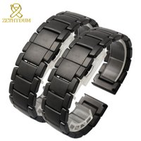 Wholesale grinding belts - Ceramic bracelet watchband 22mm Grind arenaceous watch strap white black Butterfly buckle band POLISHED watch belt not fade