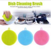 bulaşık deterjanı toptan satış-Transhome 1 Adet Sihirli Silikon sünger mutfak Temizleme Fırçaları Bulaşık Kase Ovma Pedi Pot Pan Kolay temizlenir Yıkama Fırçaları Temizleyici