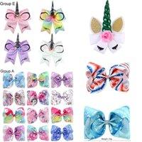Wholesale rainbow choice - JOJO bow baby girl hair bows barrettes Rainbow Mermaid Unicorn Design Girl Clippers Girls Hair Clips Baby Hair Accessory Multi Choices
