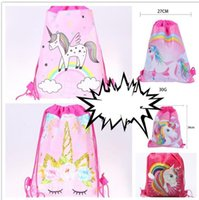 Wholesale designs bags shoes online - Unicorn Drawstring Backpack Girls Princess Swim Kids Shoes Party Bag Cute Gift Unicorn bag DESIGN KKA6069