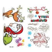 набор рождественских наклеек оптовых-Рождество временные татуировки комплект Счастливого Рождества с Новым годом боди-арт водонепроницаемый наклейки для детей партии Санта, оленей, Снеговик