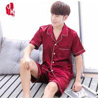 Wholesale pyjamas summer - 2018 Summer Satin Men Pajama Sets Silk Sleepwear Men Suit Solid Pyjama Male Short Silk Men's Pajamas Sleepwears Men's Set Short