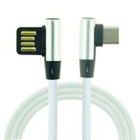 cable correcto al por mayor-Ángulo recto TIPO C Micro USB del cuero 2.4A Cable de carga rápida Cargador Cable de 1 M a 90 grados, la curva Cable conector para Samsung Smartphone