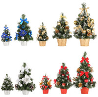 ingrosso alberi ornamenti-Mini albero di Natale Decorazione della tavola Piccolo albero di pino Festival Home Office Decorazioni per la tavola Ornamenti di Natale Decorazione regalo per Capodanno Supp