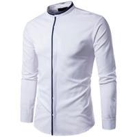 avrupa tarzı bluzlar toptan satış-Zarif Akşam Yemeği Gömlek Moda Standı Yaka Avrupa Tarzı Olgun Erkekler Dış Giyim Bluz Kapalı Düğme Ofis Blusa Erkek Patchwork Üst