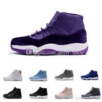 Wholesale Orange Fabric Flowers - New 11 Velvet Purple Flowers Pattern Basketball Shoes Men Women 11s Velvet Heiress Purple Flowers Sneakers High Quality With Shoes
