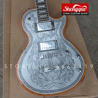 Wholesale hand carving guitar bodies for sale - Group buy Factory custom strings electric guitar silver carved top Alden metal flower aluminum top with rosewood fingerboard musical instrument Shop