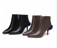 tacones de visón al por mayor-Botines de cuero genuino de las mujeres puntiagudos zapatos de vestir de tacones altos Stiletto cremallera lateral de pelo de visón resbalón en botas romanas zapatos casuales