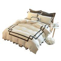 Wholesale White Bedding King Applique - Brief style princess pure cotton solid color bed skirt type 4pcs or 3pcs bedding sets white pink blue duvet cover set hot 6140