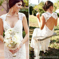 Wholesale fun dresses for weddings resale online - Stylish White Full Lace Country Wedding Dresses Plus Size Fitted Open Back Long Bridal Gowns For Women Fun Slim Garden Beach Wedding Gown