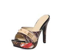talla 33 mujer tacones al por mayor-2018 Nueva Moda Mujeres Plataforma Mules Bombas Extreme High Heels Party Sexy Shoes Peep Toe señoras Calzado tamaño grande 33-43
