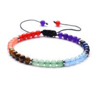 Wholesale faceted strands natural stones resale online - 10pc set chakra stone beaded friendship bracelet handmade faceted natural glass stone beads rope bracelet