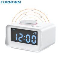 Wholesale Black Clock Radio - Fornorm US Plug FM Radio Black White Optional with Dual Alarm Clock AUX Function USB Port Charger Audio Player Radio Portable