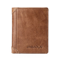 Wholesale Handmade Leather Card Wallet - Fashion Casual Business Leather Men's Short Wallet Design European And America Style Slim Wallet Handmade Card Holder Cow Leather Wallet