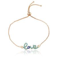 böse auge gold charme armband großhandel-Neue Einfache Liebe Design Türkische Goldkette Evil Eye Armband Crstal Blaues Auge Gold Armbänder für Frauen Mädchen Dubai Liebe Schmuck