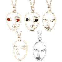 золотое звено цепи колье оптовых-Vintage Face Pendant Necklace for Women Party Bohemian Collar Jewelry Silver Gold Color Link Chain Palm Choker Necklace Bijoux
