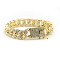Wholesale mens hip hop bracelets - Mens Luxury Iced Out Fashion Bracelets High Quality Gold Cuban Link Chain Miami Bracelet Hip Hop Jewelry