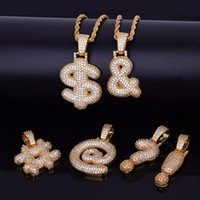 Wholesale finish letter - Gold Finish Iced Out Custom Bubble Question Mark Dollar Sign Pendants & Necklaces Charm Cubic Zircon Men Women Hip Hop Jewelry