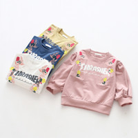Wholesale flower print tee - 2018 Girls Printed Pullover Letters Flower Long Sleeve Cotton O-neck Spring Autumn Girls Tee Shirt Sweaters 2-7T