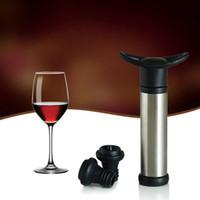 ingrosso vino di lega di zinco-In lega di zinco Vacuum Vacuum Pump rimovibile Soft Handle Bottle Stopper Resuable Eco Friendly Wine Preserver Vendita diretta in fabbrica 7jw B