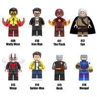 Wholesale Super Ego - 120pcs Mix Lot Super Heroes Minifig Ego Flash Wasp Spider Man Wally West Hush Mongul Iron Man Figure X0134 Mini Building Blocks Figures