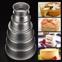 алюминиевая пудинговая форма оптовых-4/5/6/8/9/10inch DIY Aluminum Alloy Round Mini Cake Pan Removable Bottom Pudding Mold Baking Cake Mold -15